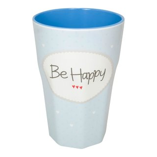 Melamin Becher Groß Be happy blau